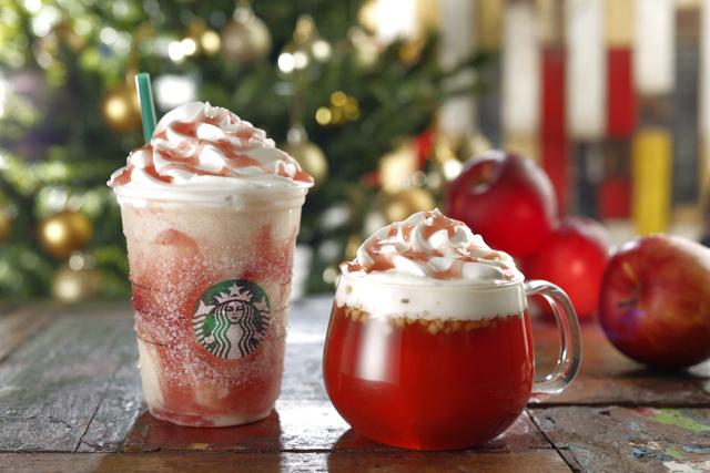【スタバ】12/1(火)~「ホットアップル」「アップルキャラメルフラペチーノ」はクリスマスにぴったりの一杯♡