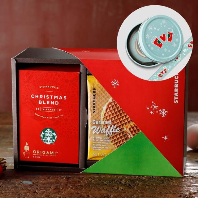 スターバックス オリガミ® クリスマス ブレンド & キャラメルワッフル (マスキングテープ付き)