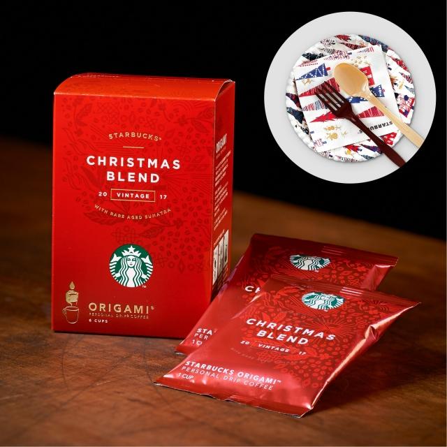 スターバックス オリガミ® パーソナルドリップ® コーヒー クリスマス ブレンド 6袋入り(スターバックス パーティーセット(ツリー柄)付)