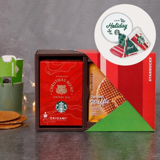 スターバックス オリガミ® クリスマス ブレンド & キャラメルワッフル(スターバックス パーティーセット(ツリー柄)付)