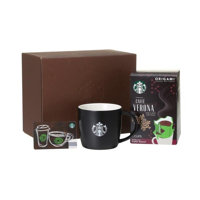 コーヒーギフト ロゴマグブラック & オリガミ(R) カフェ ベロナ(R)  (スターバックス カード付)