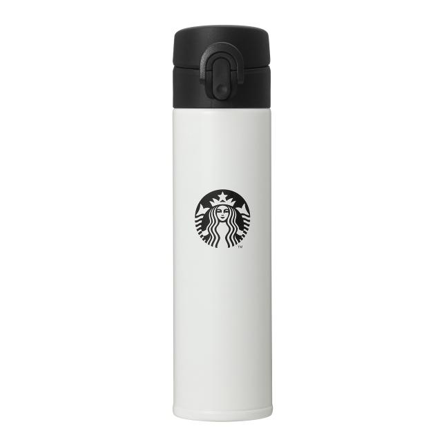 スリムハンディーステンレスボトルブラック&ホワイト400ml