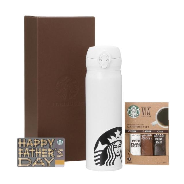 ハンディーステンレスボトルホワイト &  ヴィア3本入り (Father's Day カード付)