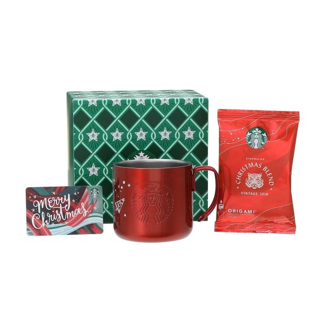 ホリデー2018ステンレスマグレッド355ml  & スターバックス オリガミ® クリスマス ブレンド (メリークリスマスカード付)