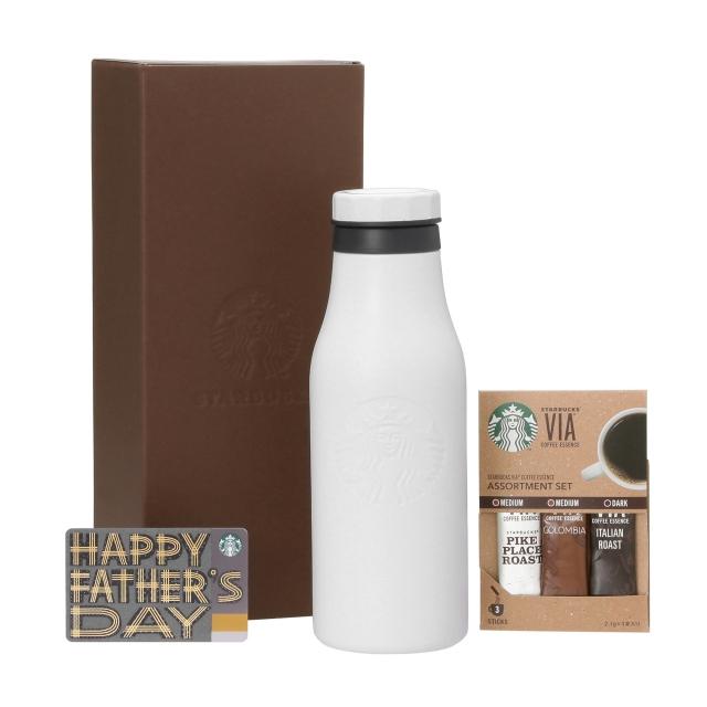ステンレスロゴボトルマットホワイト & ヴィア3本入り (Father's Day カード付)