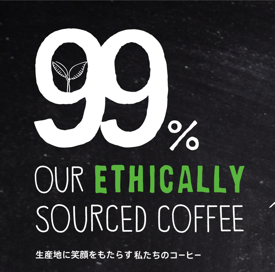 99% OUR ETHICALLY SOURCED COFFEE 生産地に笑顔をもたらす私たちのコーヒー